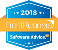A badge of JobDiva's 2018 FrontRunners award from Software Advice.
