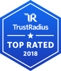 A badge showing JobDiva's 2018 award from TrustRadius for being a Top Rated ATS.